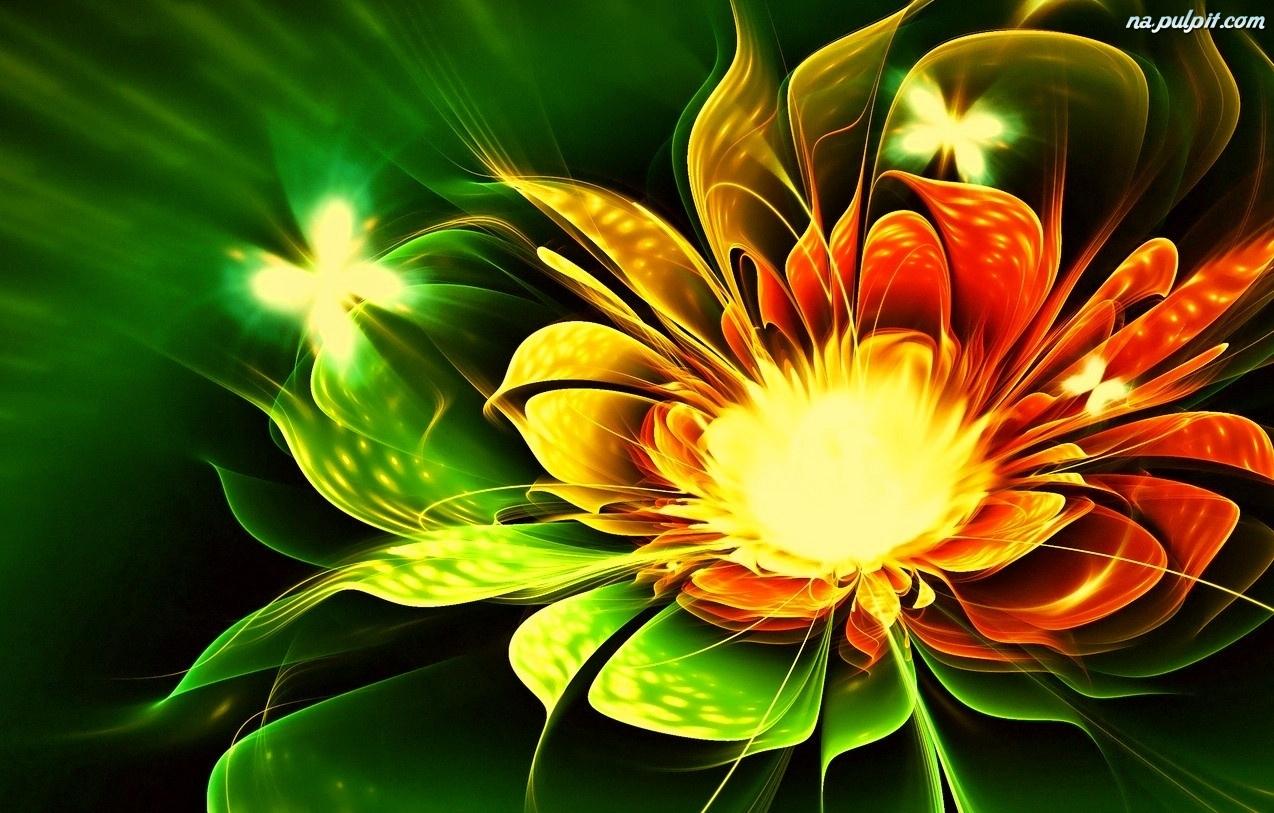 Fractalius, Kwiat, Kolorowy, Motyle Na Pulpit